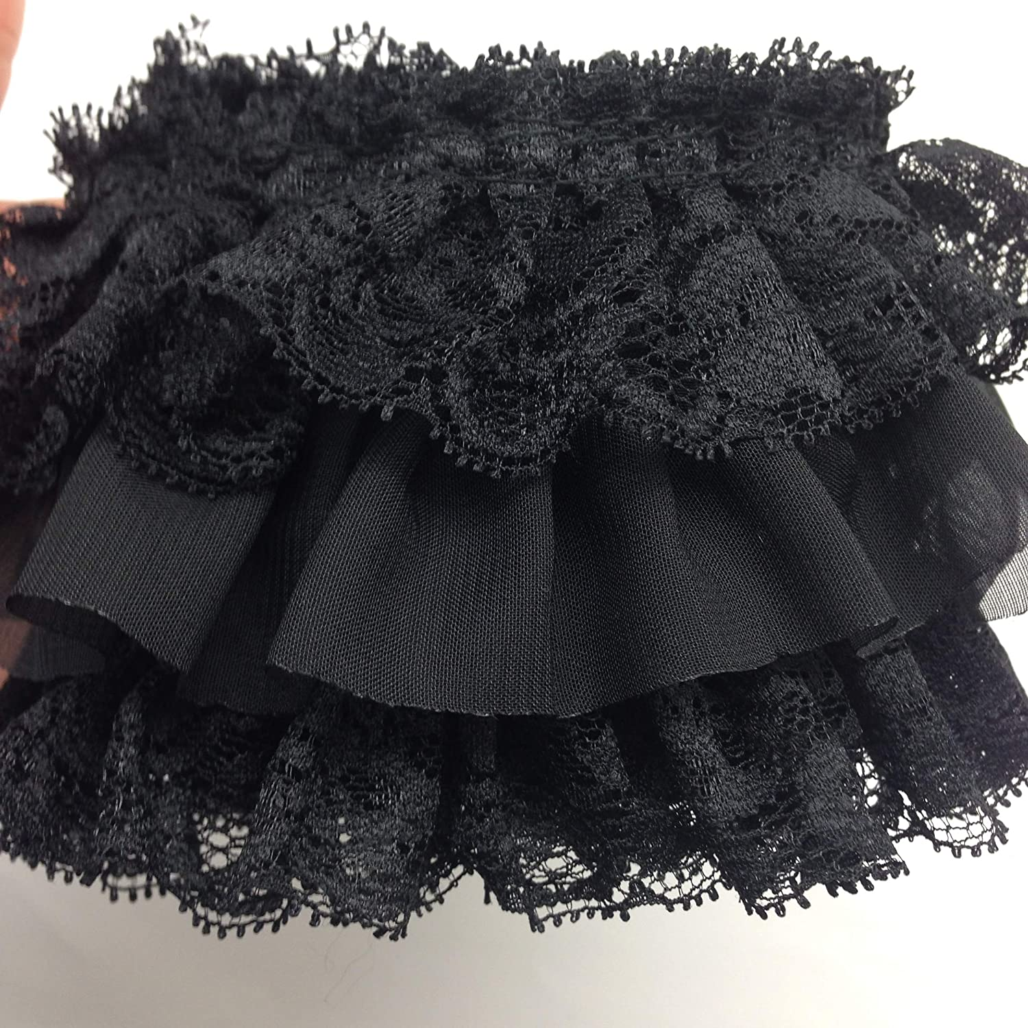 Nashville-Davidson Mall PEPPERLONELY 1 Meter Minneapolis Mall 40 Inch Black Lace Fabric 3-Layer Pleated