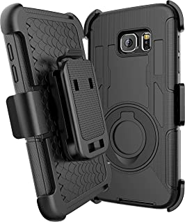 E LV Holster Case for Galaxy S7 Case Cover - Dual Layer Armor Defender Protective Case Cover with Kickstand and Belt Swivel Clip for Samsung Galaxy S7 - Black
