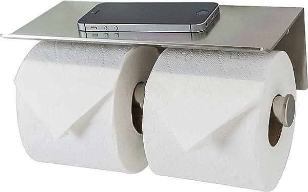 Double Roll Toilet Paper Holder With Phone Shelf Bathroom Tissue Dispenser Modern Style Brushed Nickel