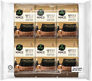 CJ Bibigo Savory Roasted Korean Seasoned Seaweed halal, 12P