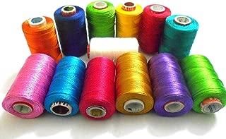 GOELX Silk Thread 13 Main Color Set For Jewellery-Tassel Making- Embroidery-Crafts, Shiny Soft Thread Spools