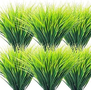 Grunyia 20 Bundles Artificial Outdoor Plants, Fake Wheat Grass Greenery Shrubs UV Resistant Faux Plastic Plants Garden Por...