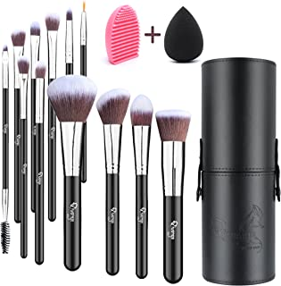 Qivange Makeup Brush Set, Synthetic Makeup Brushes with Case, Makeup Sponge & Makeup Brush Cleaner(12 pcs)