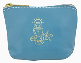 Colorful Rosary Pouch in Italian Leather (Blue)