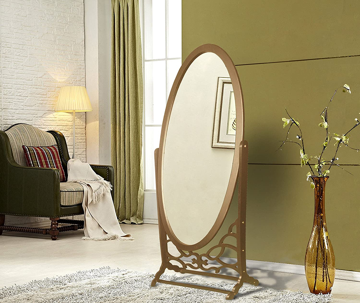 Iconic Home Bowery Mirror Modern Free Standing Spindle Accent Legs Floor Mirror, gold