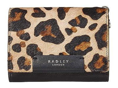 Radley London Arlington Court Faux Leopard Medium Flapover Purse (Black) Wallet Handbags