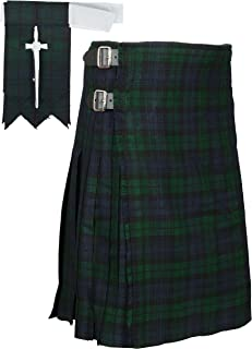 Scottish Black Watch Tartan Kilt FREE Flashes & Kilt Pin