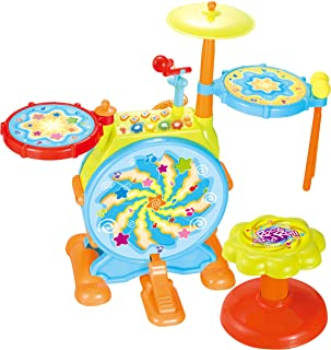 IQ Toys My First Drum Set, Includes Sing Along Microphone and Chair, for a Complete Musical and Learning Sensation