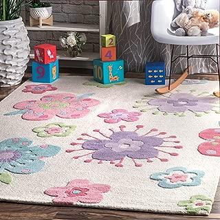 nuLOOM Floral Wool Wool Rug, 7' x 9', Off White