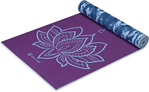 Gaiam Yoga Mat – Premium 6mm Print Reversible Extra Thick Non Slip Exercise & Fitness Mat for All Types of Yoga, Pilates & Floor Workouts (68″ x…