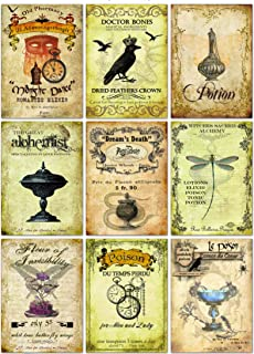Halloween Vintage Inspired 9 bottle labels Poison Tonic Potion Magical