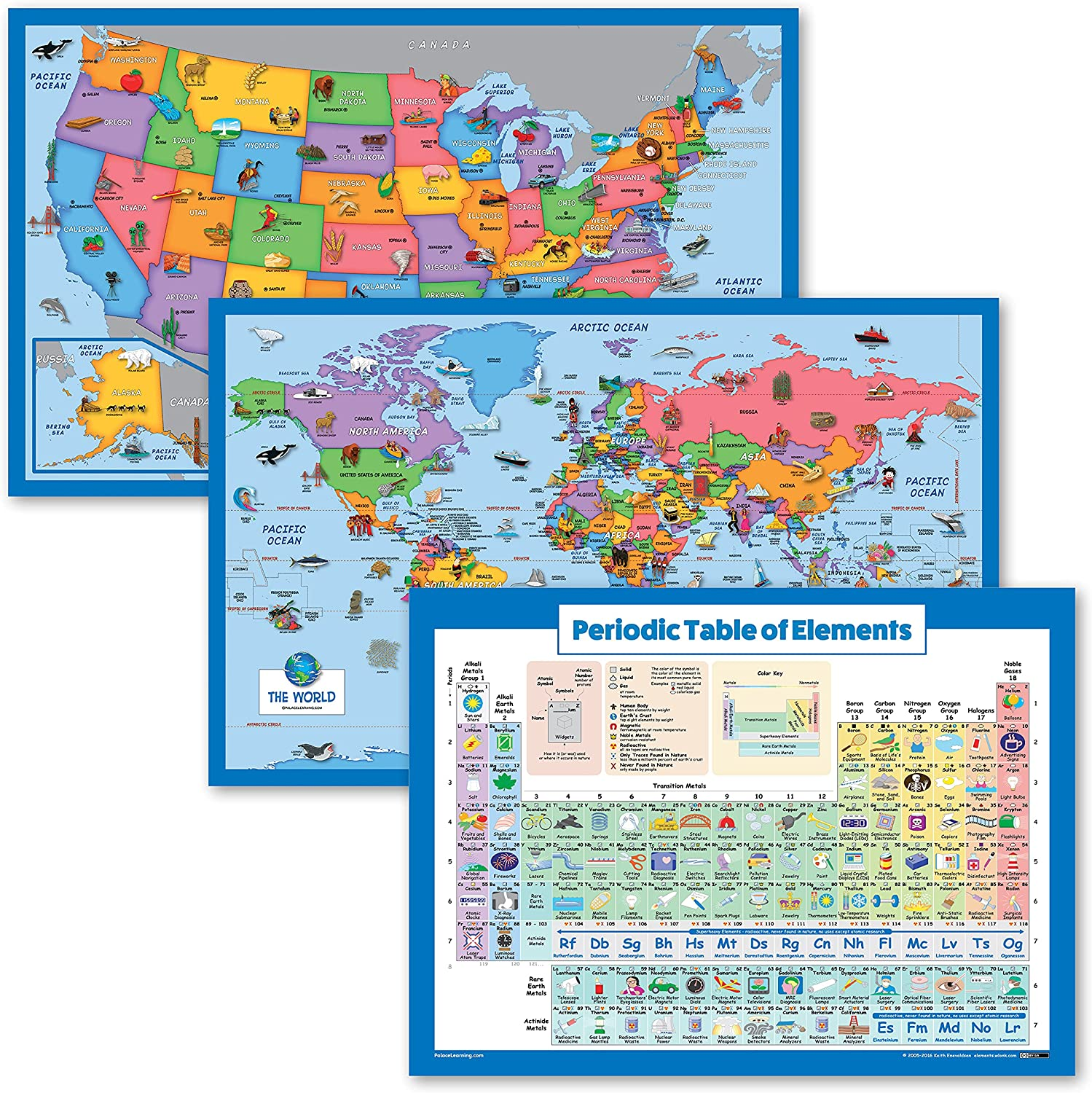 3 Pack - Illustrated Albuquerque Mall World Fees free Map Tab USA Kids for + Periodic