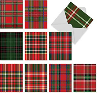 10 Assorted 'Highland Holiday' Christmas Cards w/Envelopes Small 4 x 5.12 Inch, Seasonal Stationery with Festive Plaid Designs, Blank Holiday Note Cards for Birthdays, New Year, Xmas, Parties M6016