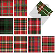 Highland Holiday' Christmas Cards, Boxed Set of 10 Tartan Pattern Holiday Notes 4 x 5.12 inch, Assorted Plaid Holiday Cards, Red and Green Criss Cross Pattern Cards, Scottish Holiday Cards M5016