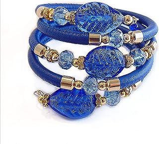 VENEZIA CLASSICA - Bracciale da Donna con perle in Vetro di Murano Originale e vera pelle Toscana a cinque giri nero, con ...