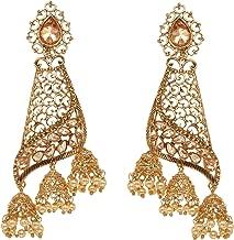 Bindhani Fashion Bollywood Jewellery Traditional Ethnic Bridal Bride Wedding Bridesmaid Gold Plated Kundan Pearl Drop Jhumka Jhumki Head chain Indian Bahubali Earrings Jewelry For Women