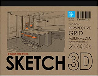 Design Ideation Sketch 3D Perspective Grid Paper Pad. Multi-Media Paper pad for Pencil, Ink, Marker and Watercolor Paints....