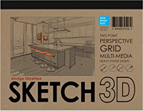 Design Ideation SKETCH 3D Multi-Media Perspective Grid Paper for Pencil, Ink, Marker and Watercolor Paints. Great for Art, Design and Education. Two Point Perspective Grid. Non Repro Blue.