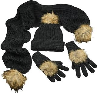 مجموعة إكسسوارات قبعة / وشاح / قفازات من الفرو الصناعي للبنات الكبار دافئة من N'Ice Caps