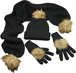 fur hat and gloves set