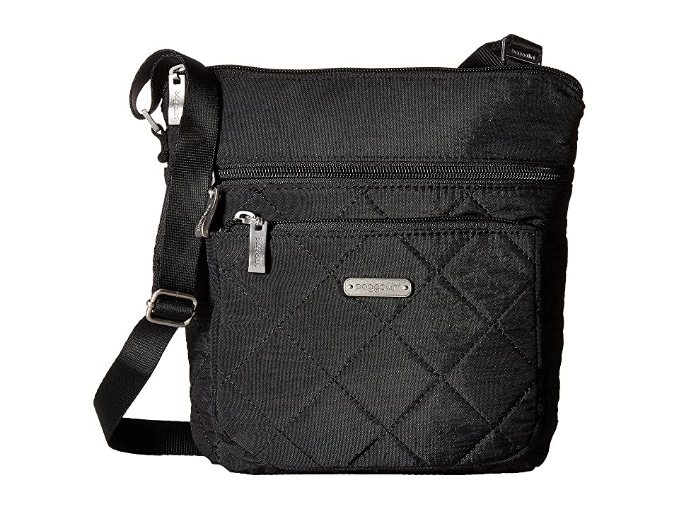 Baggallini Quilted Pocket Crossbody with RFID Wristlet (Black Quilt) Cross Body Handbags