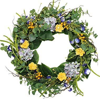 The Wreath Depot Aftonshire Silk Spring Front Door Wreath 24 Inch, Beautiful Handcrafted Wreath Design, White Storage Gift Bo