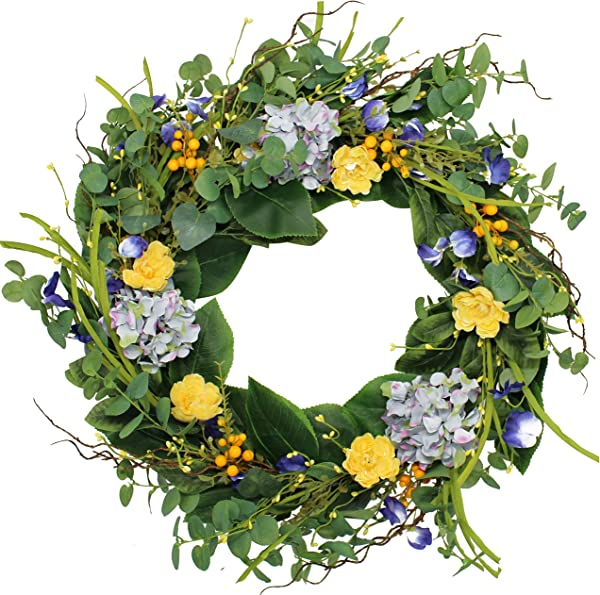 The Wreath Depot Aftonshire Silk Spring Front Door Wreath 24 Inch Beautiful Handcrafted Wreath Design White Storage Gift Box Included