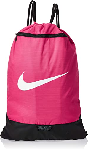 Nike Brasilia Training Gymsack, Drawstring Backpack with Zipper Pocket and Reinforced Bottom, Rush Pink/Rush Pink/White