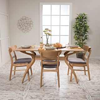 Christopher Knight Home Isador Mid Century Fabric & wood Finish 5 Piece Dining Set (Oak/Dark Grey)