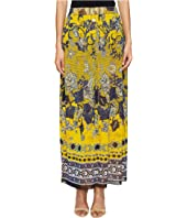 FUZZI - Long Front Button Skirt in Batic Print