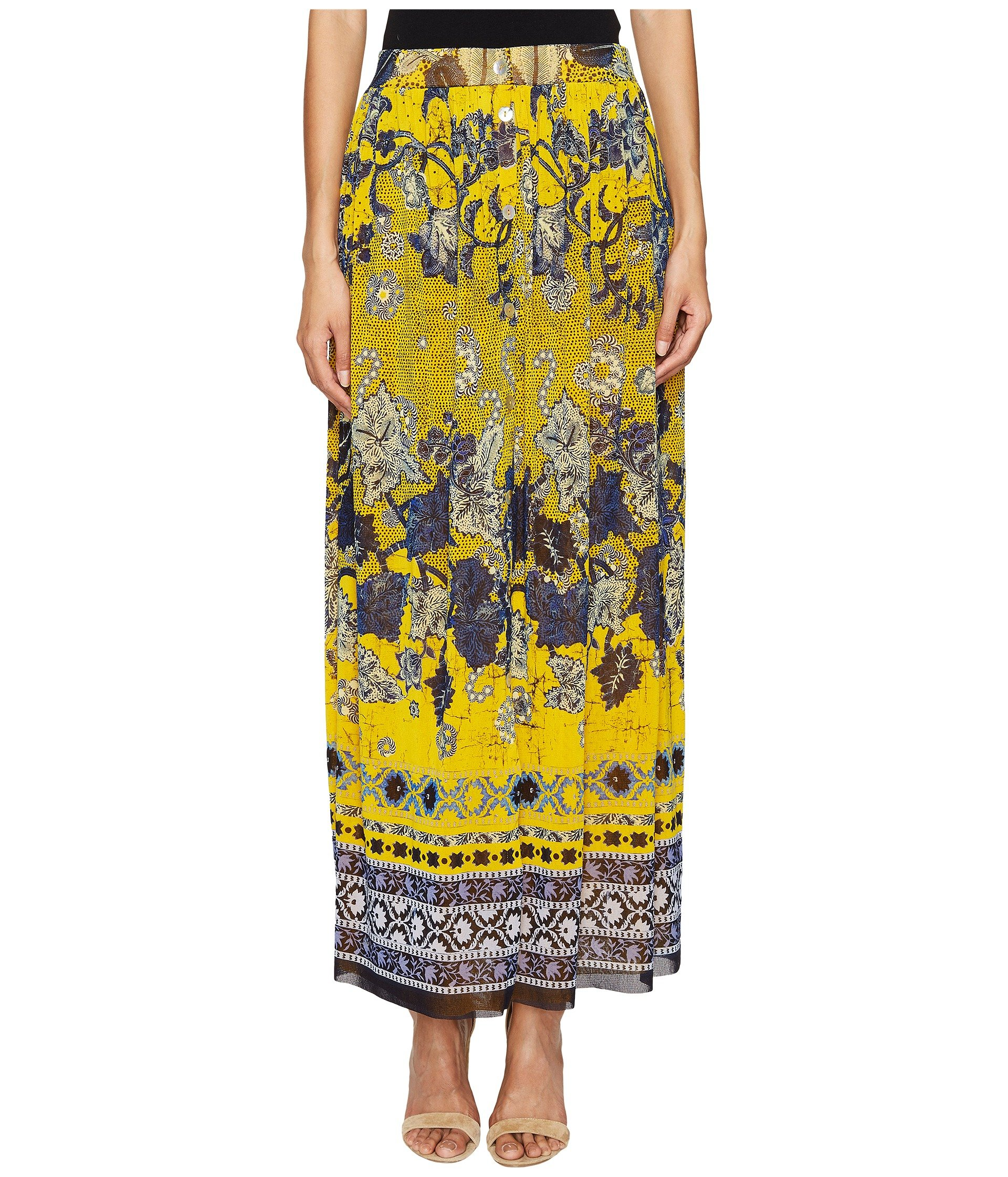 Long Front Button Skirt in Batic Print