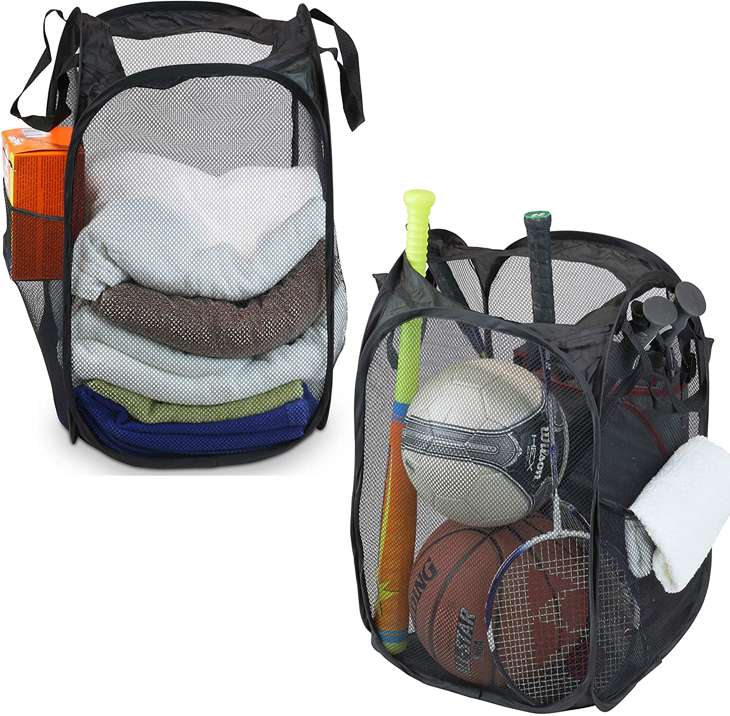 Today's only 2 Pack - SimpleHouseware Mesh Laundry Hamper Pop-Up Award-winning store with Basket