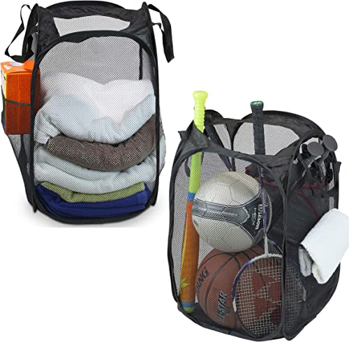 popular 2 online Pack - SimpleHouseware Mesh Pop-Up Laundry Hamper Basket with Side sale Pocket, Black sale