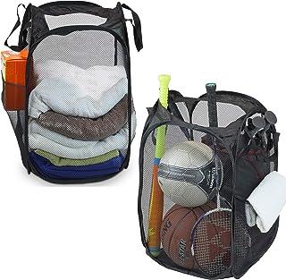 2 Pack – SimpleHouseware Mesh Pop-Up Laundry Hamper Basket with Side Pocket, Black