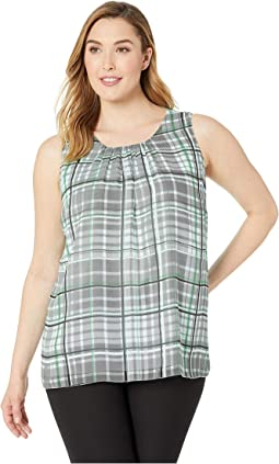 Plus Size Sleeveless Plaid Shades Blouse