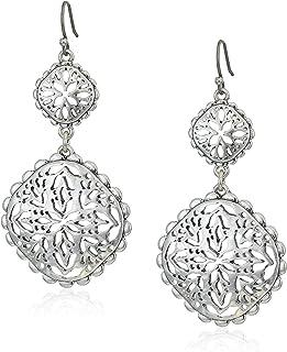 Lucky Brand Women's Silver Openwork Compass Statement Drop Earrings, One Size