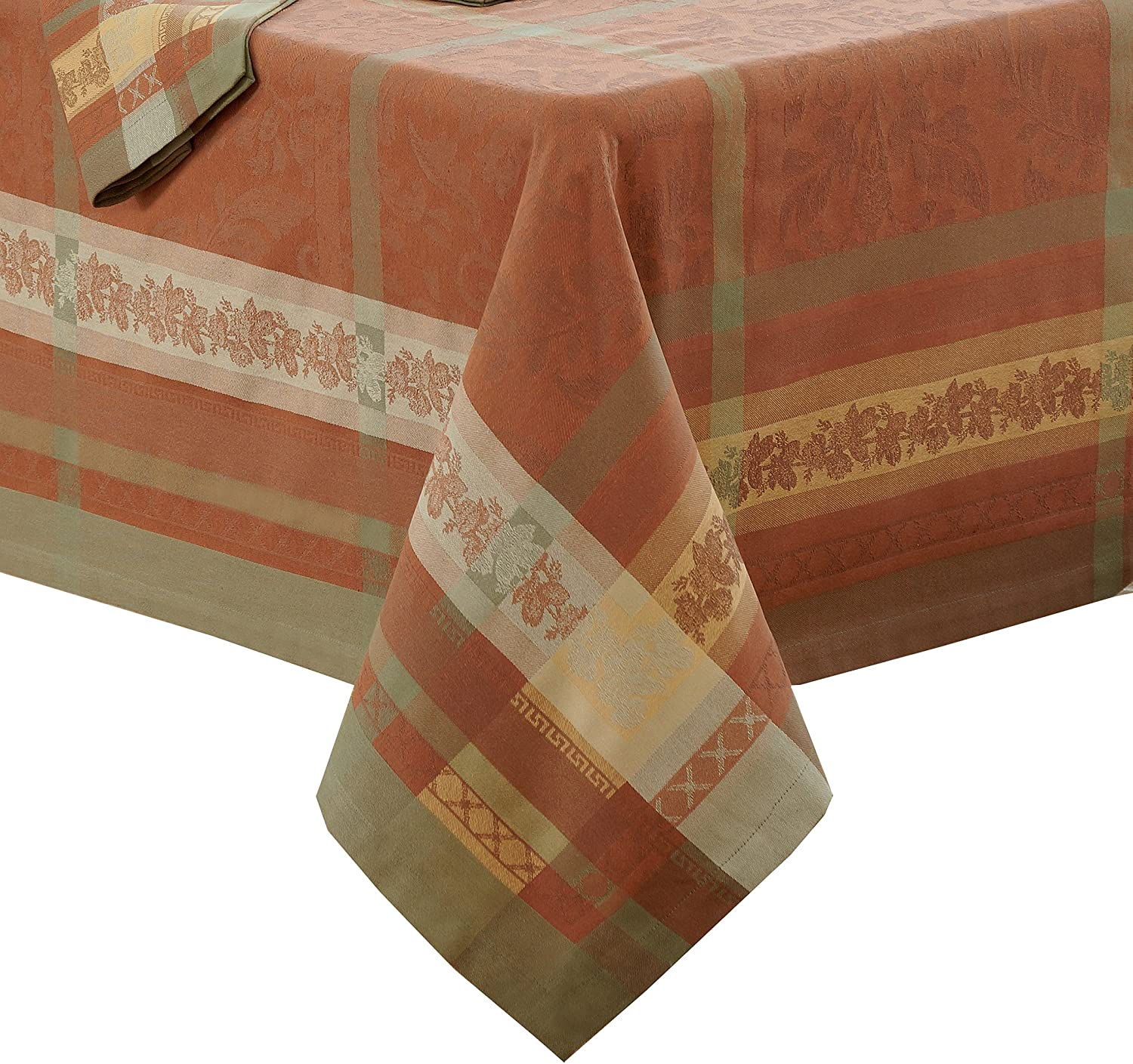 Villeroy and Boch Promenade Jacquard Fabric Tablecloth, 63  x 96 , Brick Red