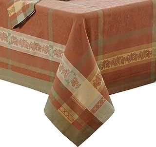 "Villeroy and Boch Promenade Jacquard Fabric Tablecloth, 63"" x 96"", Brick Red"