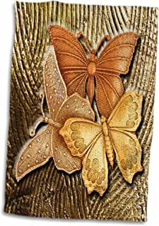 3D Rose Embossed Background with Accents and Three Beautiful Butterflies in Golds-Yellows and Copper. Towel, 15