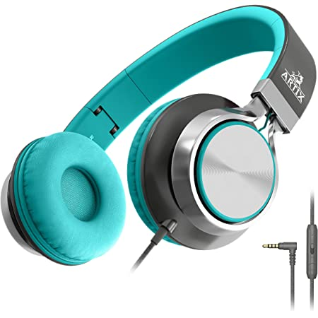 Artix Foldable Headphones with Microphone and Volume Control, NRGSound CL750 On-Ear Stereo Earphones, Great for Kids/Teens/Adults (Mint/Gray)