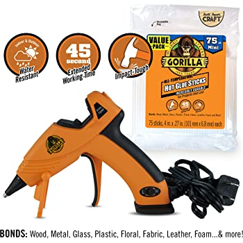 Gorilla Dual Temp Mini Hot Glue Gun Kit with 75 Hot Glue Sticks, (Pack of 1)