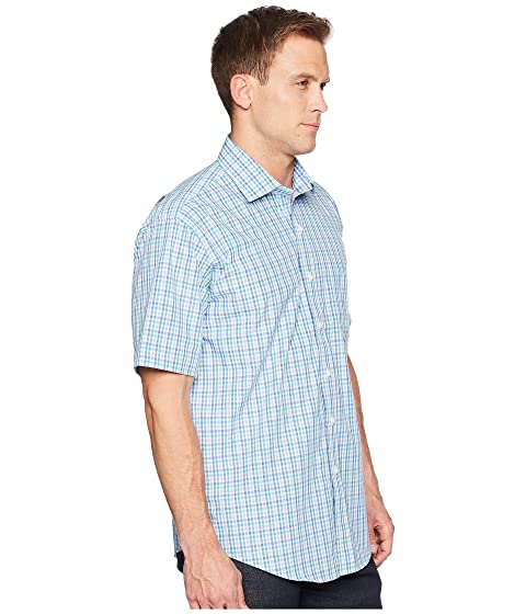 Magna Ready Short Sleeve Magnetically-Infused Check Dress Shirt- Spread Collar Blue/Teal/White Best Place Pay With Visa Cheap Online Cheap Choice Discount Affordable tNEc51F