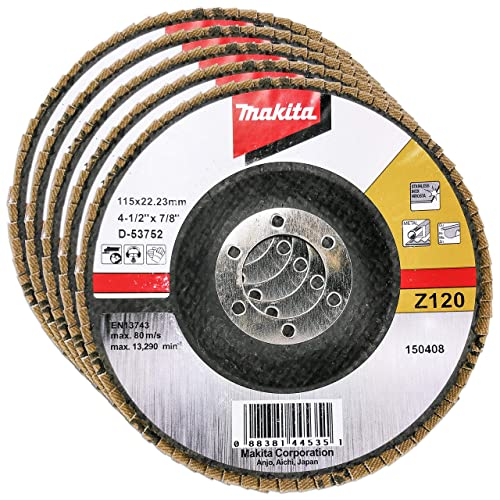"""Makita 5 Pack - 120 Grit Flap Disc For Grinders - Fine Conditioning For Metal, Stainless Steel & Non-Ferrous - 4-1/2"""" x 7/8-Inch   Z120 Angled"""