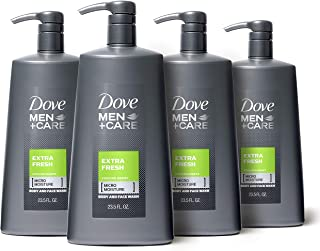 Dove Men+Care Body Wash with Pump for Men's Skin Care Extra Fresh Body Wash that Effectively Washes Away Bacteria While Nourishing Your Skin 23.5 oz, Pack of 4