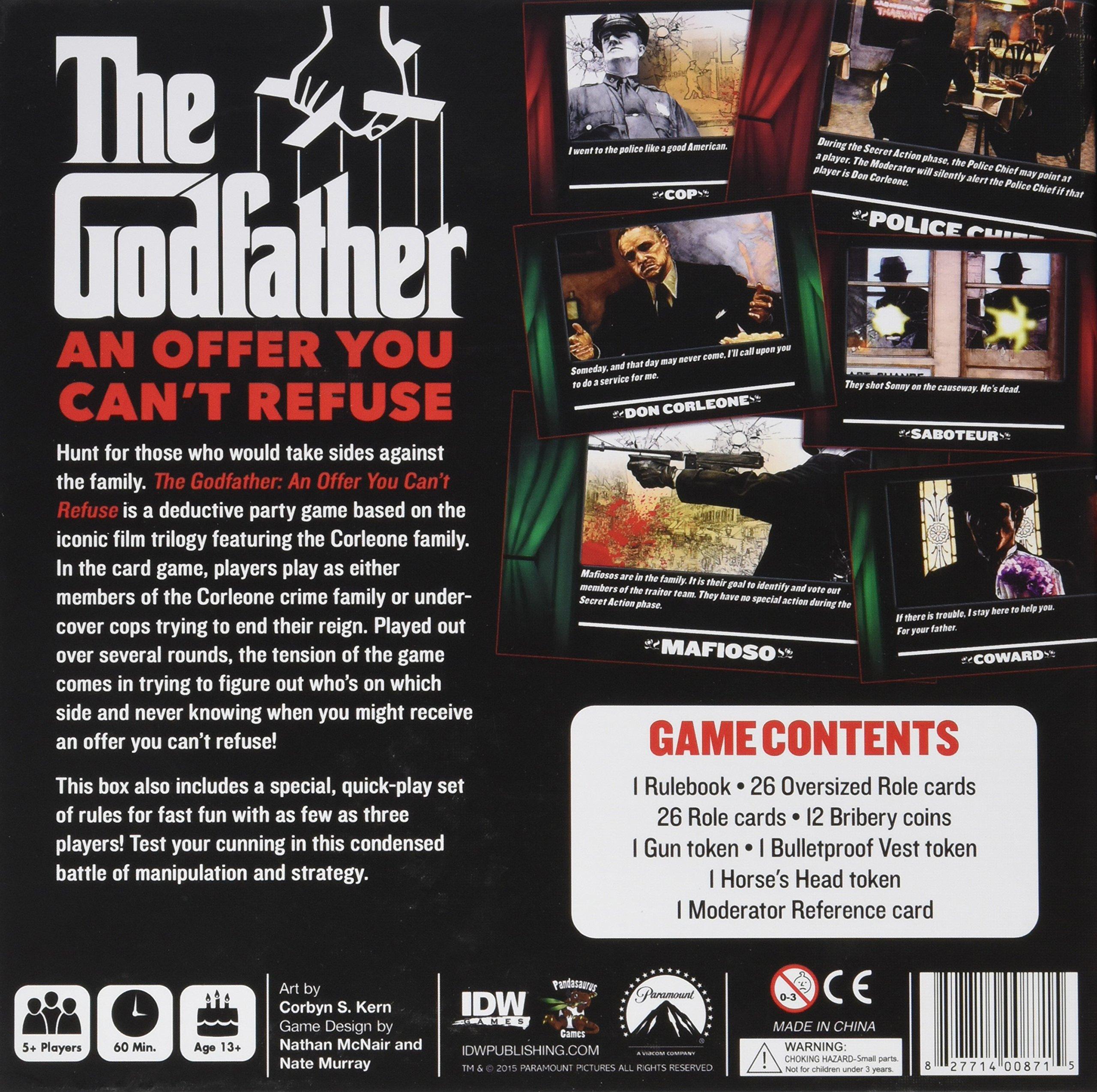 IDW Games Godfather: una Oferta Que no Puede refutar Juego de Cartas: Amazon.es: Juguetes y juegos