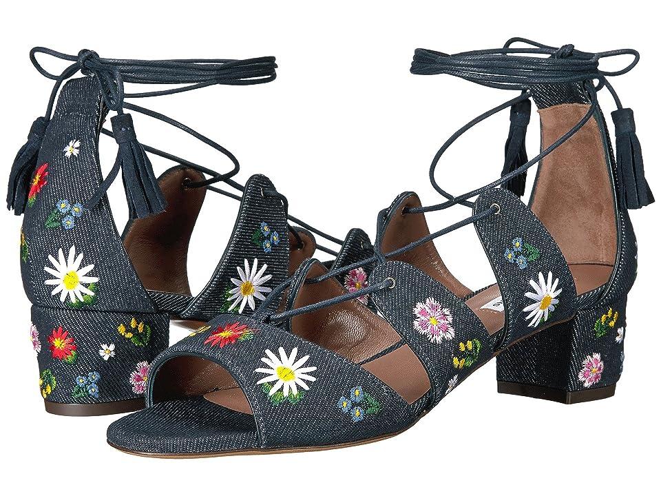 Tabitha Simmons Isadora Flower Embroidered (Indigo Denim/Multicolor Embroidery) Women