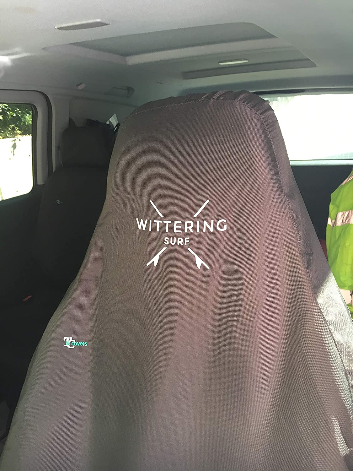 Drivers Seat Heavy Duty /& Waterproof Black Town /& Country Covers Universal 3D Airbag Compatible Seat Cover with Wittering Surf Branding