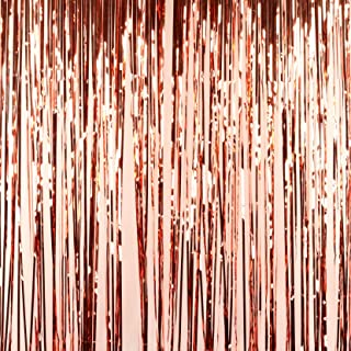 Andaz Press Rose Gold Foil Fringe Party Door Curtain Backdrop,  2-Pack,  6-Feet Total Width x 8-Feet Height,  Shiny Metallic Copper Champagne Themed Bridal Shower Supplies