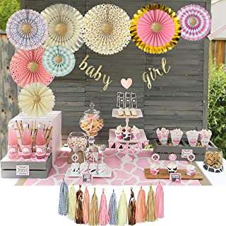 YARA Baby Shower Decorations for Girls Kit|Pink and Gold Party Supplies|Paper Fans|Baby Girl Garland Bunting Banner|Hanging|Tassels|Its a Girl|Cream|Pink|Peach|Rose Gold|Boho Rustic Theme