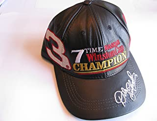 Dale Earnhardt Sr #3 7 Time Black Leather Hat With White Red Accents Hat Cap One Size Fits Most